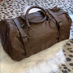 NWT La Condesa Floral Embossed Leather Duffle Bag